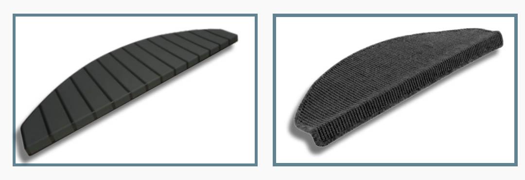Vergelijking Sisal met kunststof trapmatten zwart